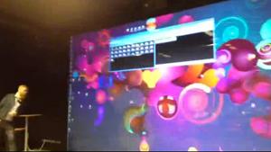 Presentationsskärmen på Visual Arena